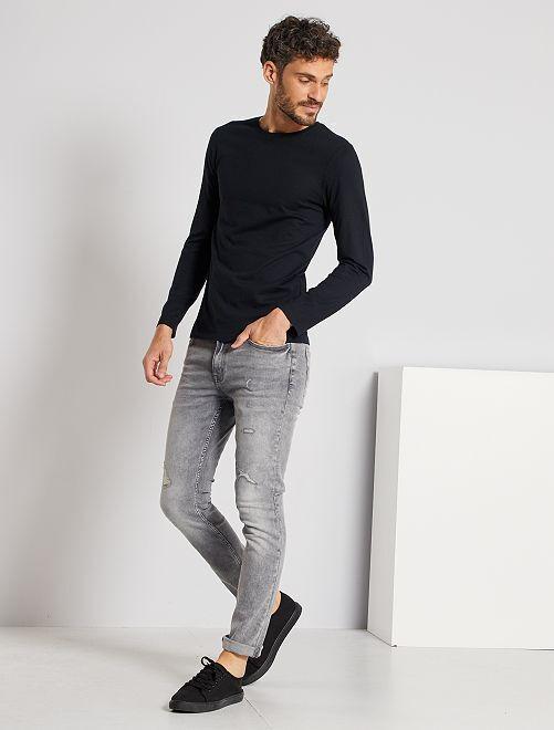 T-shirt manches longues uni                                                                 noir