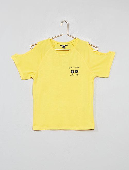 T-shirt manches ouvertes                                                                 jaune/lunettes Fille adolescente
