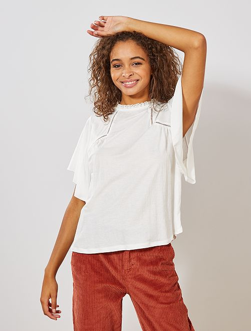 T-shirt manches papillons                             blanc