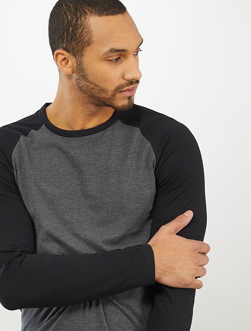 T-shirt manches raglan 'éco-conception'                                                                 noir/gris