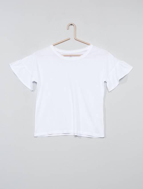 T-shirt manches volantées                                 blanc