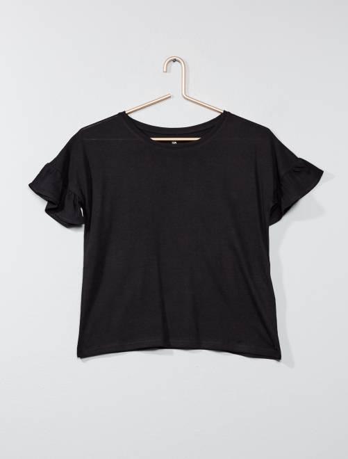 T-shirt manches volantées                                                                             noir Fille adolescente