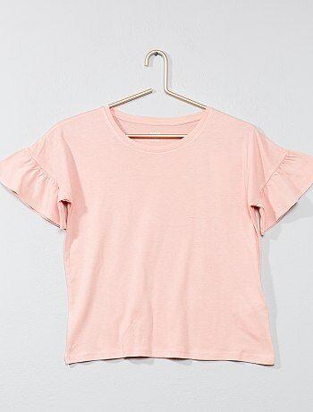 T-shirt manches volantées - Kiabi