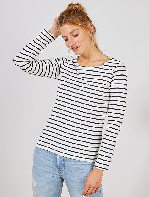 T-shirt marinière avec col cranté                                         blanc rayé bleu Femme