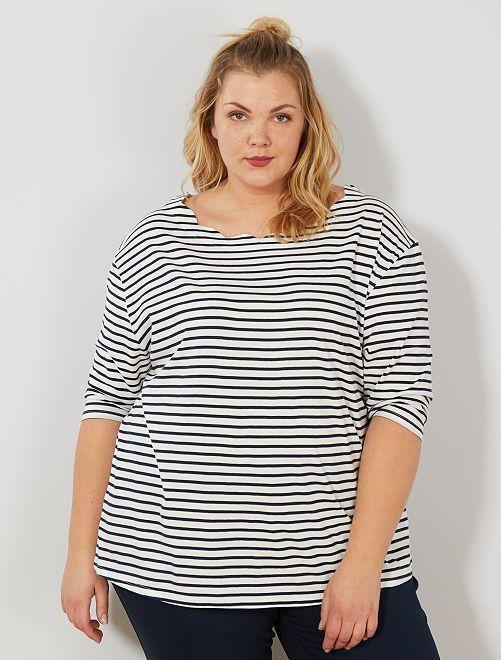 T-shirt marinière col écaille                             BLANC Grande taille femme