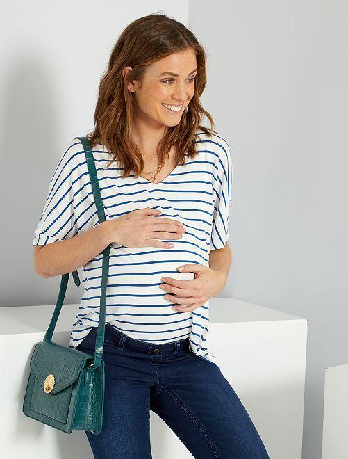 T-shirt marinière de maternité                                         bleu