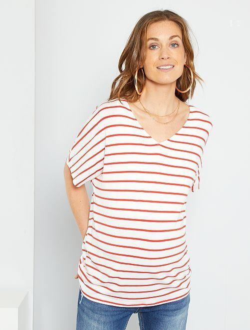 T-shirt marinière de maternité                                 rouge