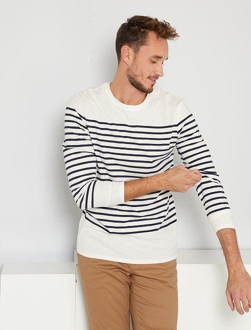 T-shirt marinière éco-conçu +1m90                             blanc
