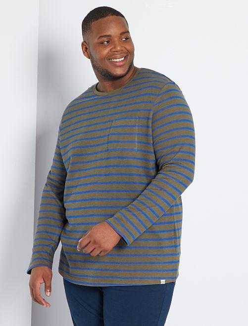 T-shirt marinière épais éco-conçu                                         kaki/bleu