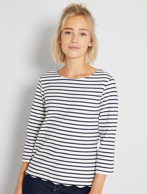 T-shirt marinière finition écaille                                                                 blanc rayé