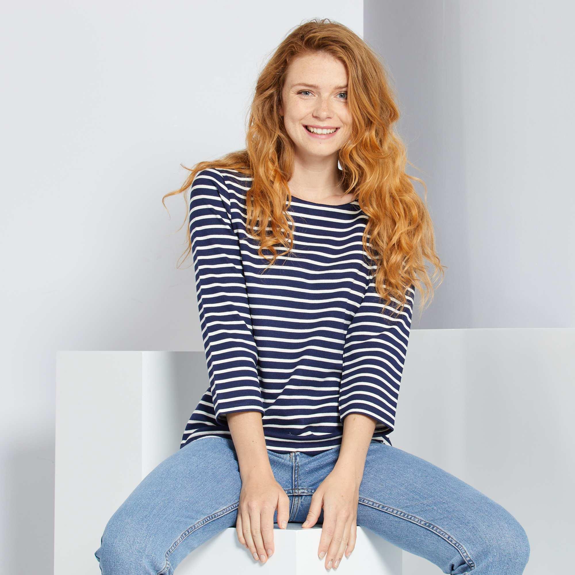 91dc0a81874df T-shirt marinière finition écaille Femme - marine rayé - Kiabi - 12,00€