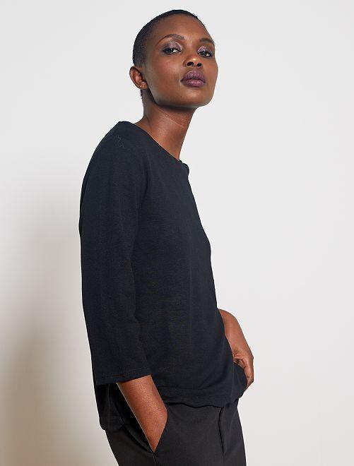 T-shirt marinière finition écaille                                                                 noir