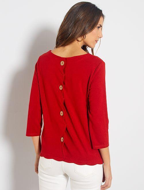 T-shirt marinière finition écaille                                                                 rouge