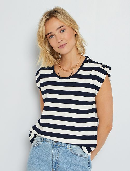 T-shirt marinière sans manches                             écru/marine