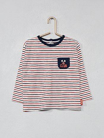 Garçon 0-36 mois - T-shirt marinière tricolore - Kiabi 3fbe64ecb0d