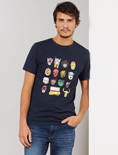 T-shirt 'Marvel'                                         bleu pétrole chiné