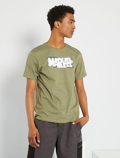 T-shirt 'Marvel' éco-conçu                             kaki