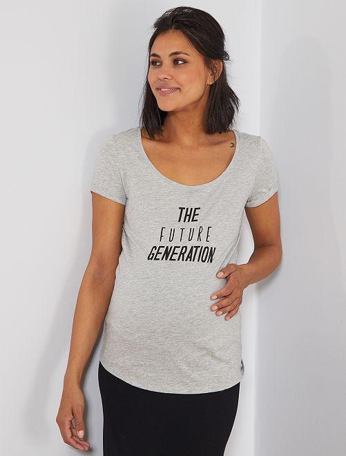 T-shirt maternité 'éco-conception'                                                                                         gris clair/futur