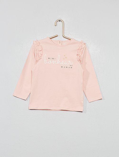 T-shirt message et volants 'éco-conception'                                 rose