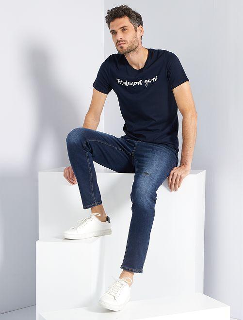 T-shirt message Noël                                                                 bleu marine