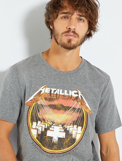 T-shirt 'Metallica'                             gris chiné