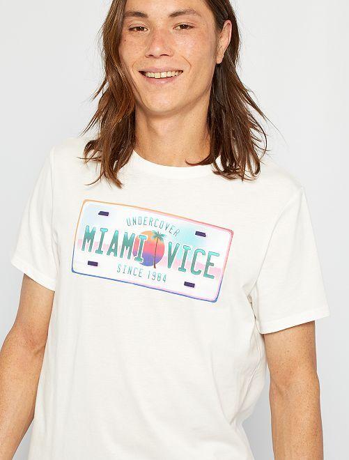T-shirt 'Miami Vice'                                                     blanc/plaque