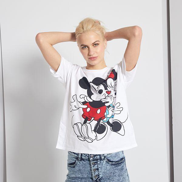 T-shirt 'Mickey' et 'Minnie' Femme - blanc