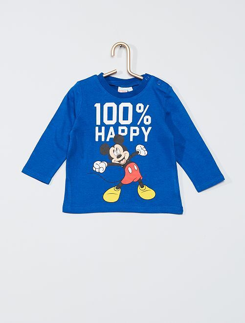 T-shirt 'Mickey' manches longues                                         bleu