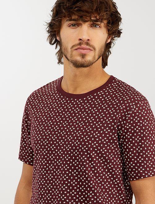T-shirt micro motif 'éco-conception'                                                                 bordeaux ethnic