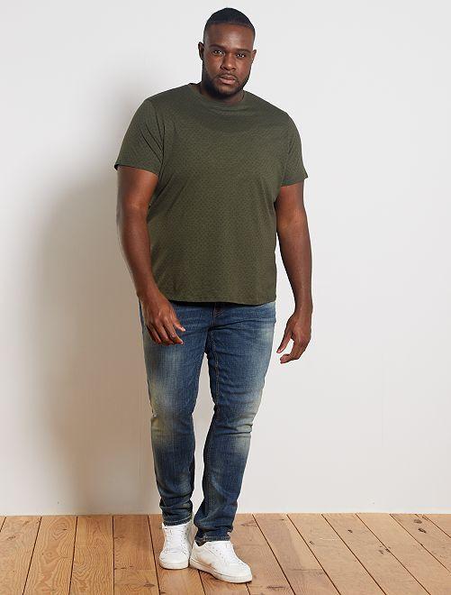 T-shirt micro motif 'éco-conception'                                         kaki