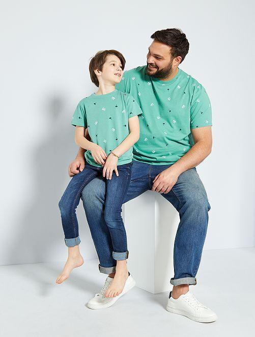 T-shirt micro motif 'éco-conception'                                                                 vert