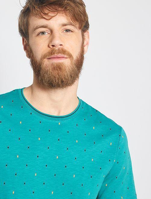 T-shirt micro motif ethnique                                                     vert