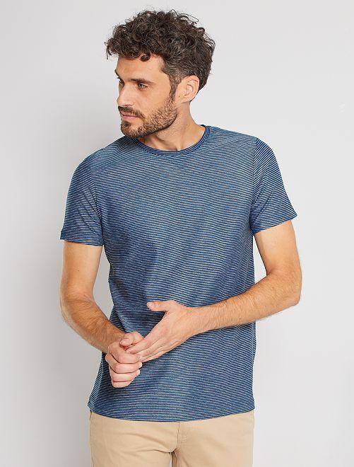 T-shirt micro rayures                                                                 bleu canard