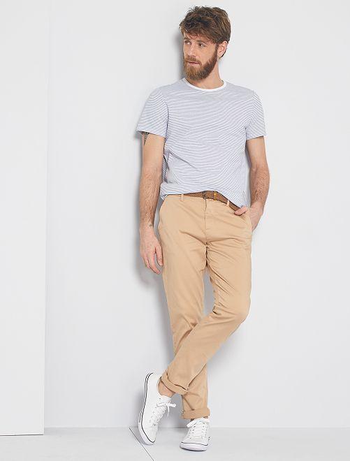 T-shirt micro rayures 'éco-conception'                                                                 blanc