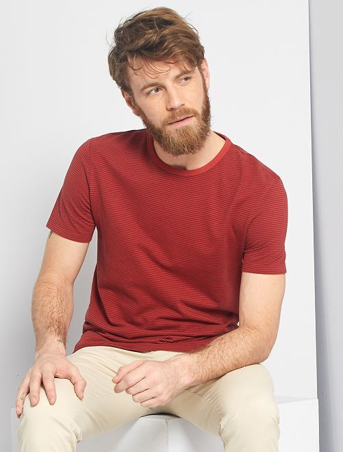 T-shirt micro rayures 'éco-conception'                                                                 rouge brique