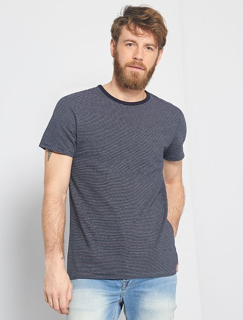 T-shirt micro rayures éco-conçu                     bleu marine