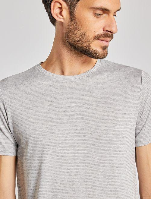T-shirt micro rayures                                                                 gris clair