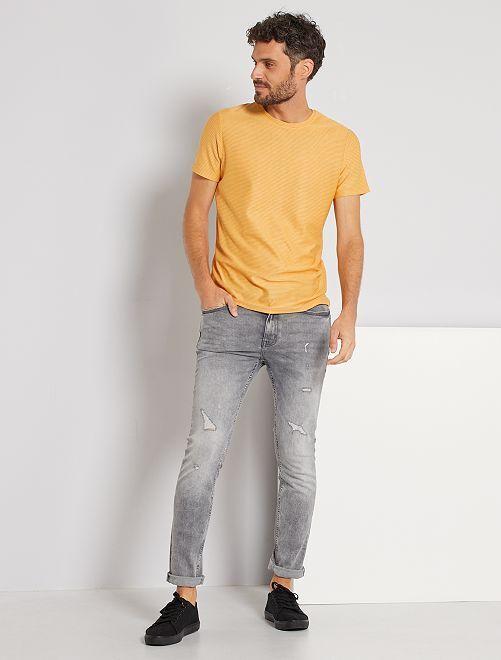 T-shirt micro rayures                                                                 jaune