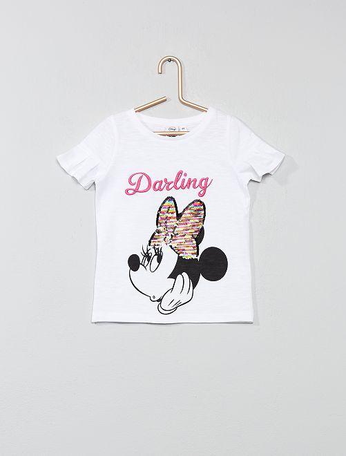 T-shirt 'Minnie' à sequins                             blanc