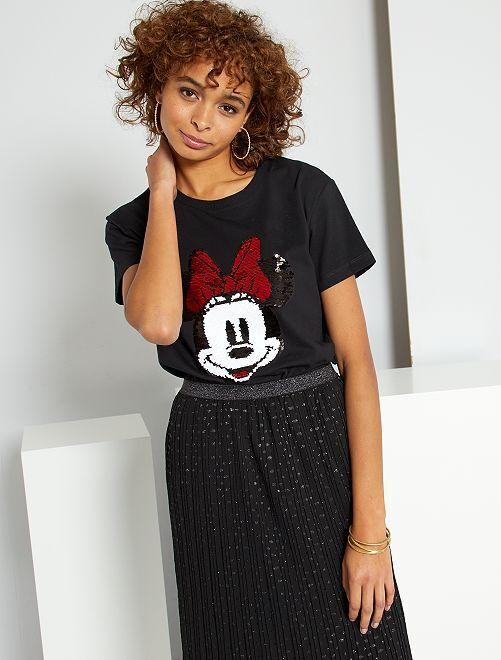 T-shirt 'Minnie' à sequins réversibles                             noir