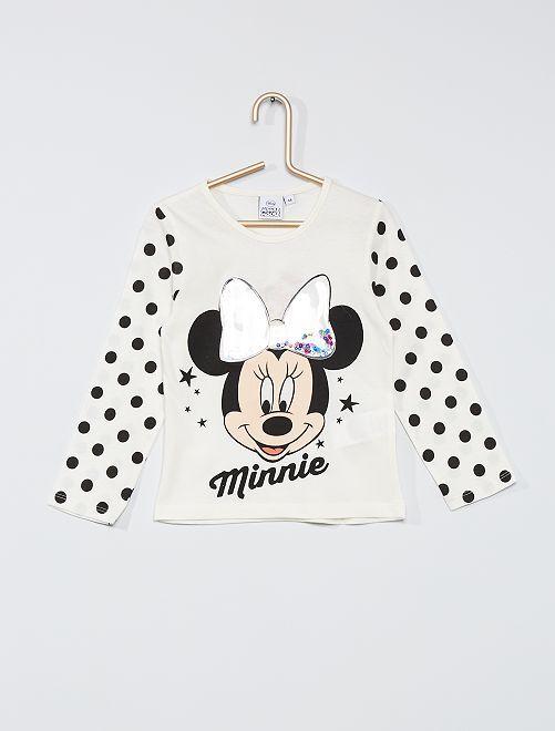 T-shirt 'Minnie' avec sequins                                         écru