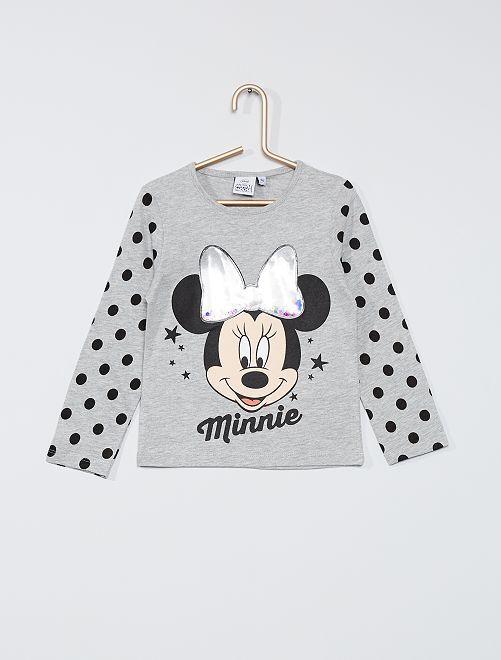 T-shirt 'Minnie' avec sequins                                         gris chiné