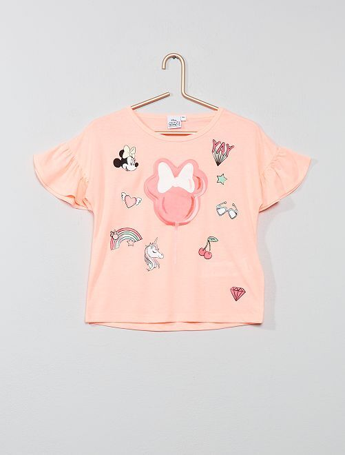 T-shirt 'Minnie' relief                             rose fluo Fille