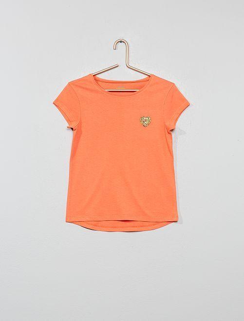 T-shirt motif poitrine 'éco-conception'                                                     corail Fille