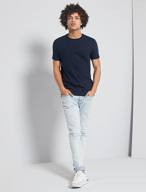 T-shirt moucheté 'éco-conception'                                                                 bleu marine