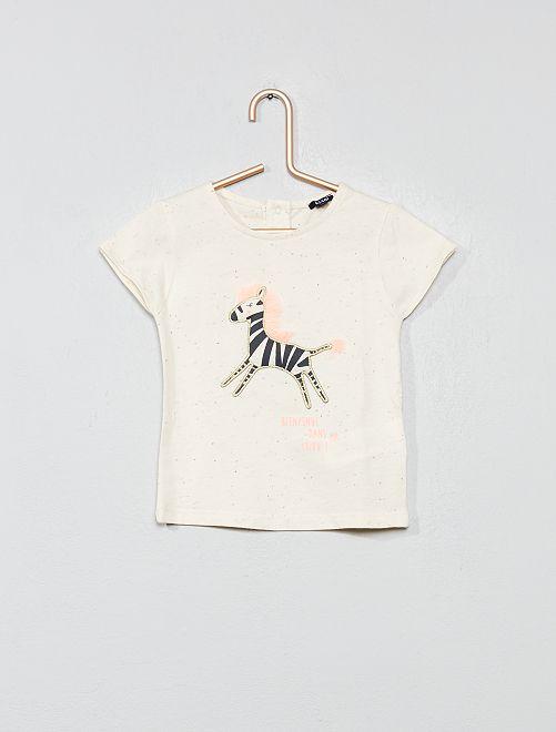 T-shirt moucheté 'zèbre'                             beige Bébé fille