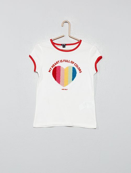 T-shirt multicolore                                         blanc cœur Fille