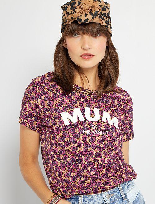 T-shirt 'Mum of the world'                                         bordeaux