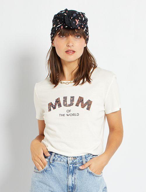 T-shirt 'Mum of the world'                                         écru