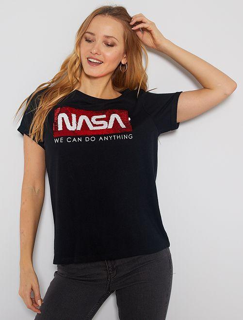 T-shirt 'Nasa' à sequins réversibles                             noir